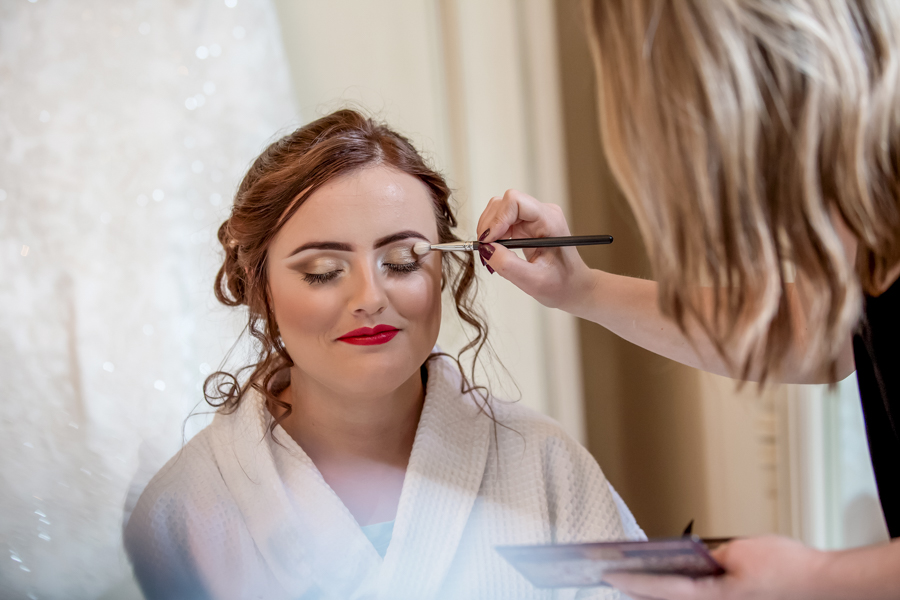 Wedding photography of bridal makeup