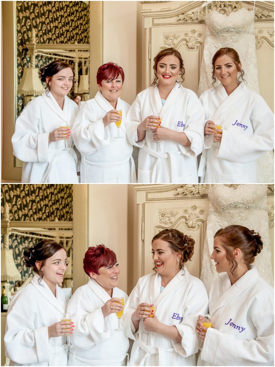 The bride and her bridesmaids on the morning of the wedding in Malton