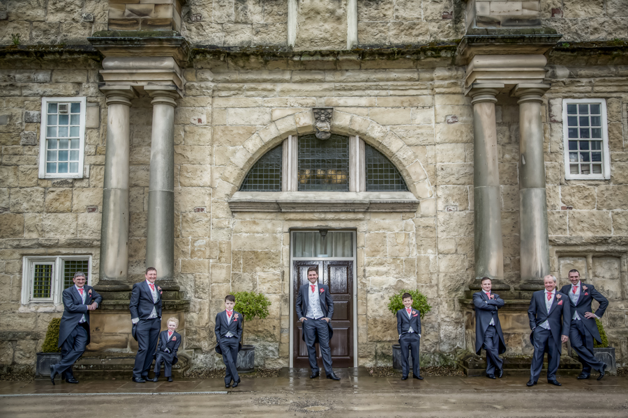 Outside The Old Lodge with the groom and his groomsmen