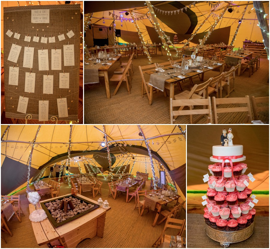 The wedding breakfast room in the bride and grooms tepee