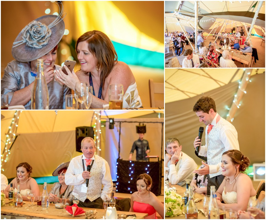 The wedding speeches at The Old Lodge in Malton inside the Tepee with the bride and groom