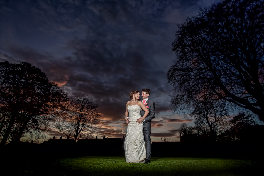 Sunset wedding photography with the bride and groom on the stunning lawns of The Old Lodge in Malton at sunset