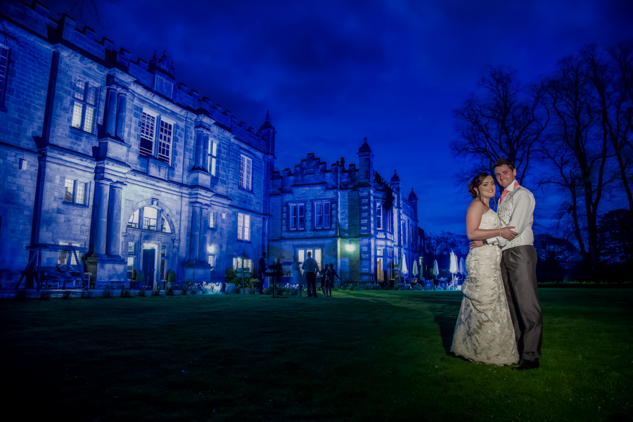 Evening wedding photography in Malton with the bride and groom at The Old Lodge