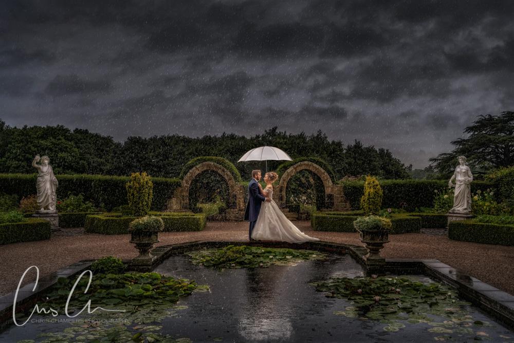 Wet wedding photography, Allerton Castle wedding in the rain