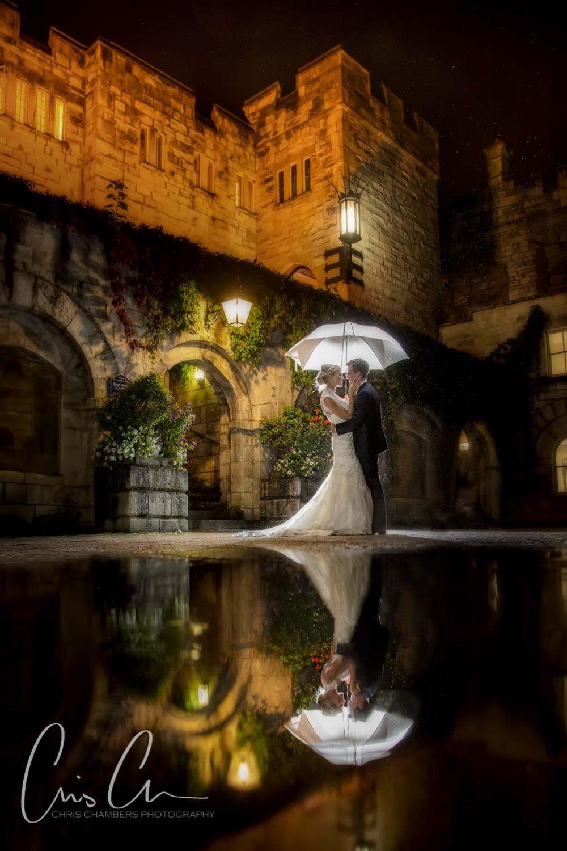 Hazlewood Castle wet wedding photography - rain on your wedding day