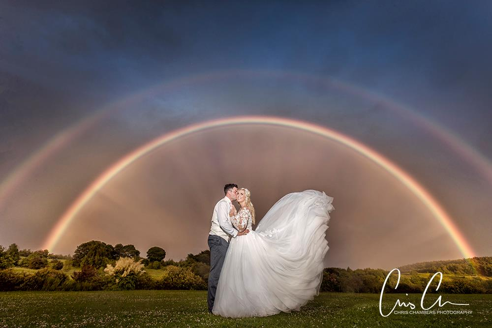 Double Rainbow Waterton park Hotel wedding photographer, walton hall wakefield wedding photos. Chris Chambers, award winning wedding photographer