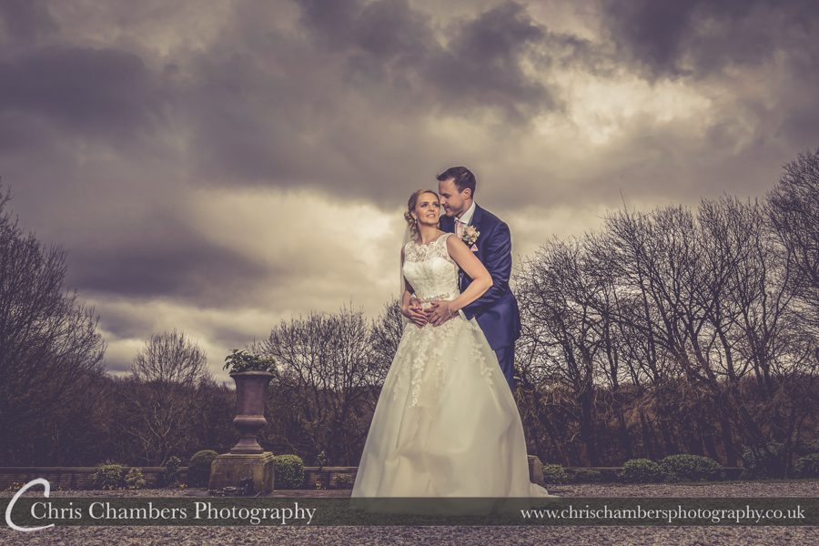 Bride and groom wedding photography at Woodlands Hotel in Leeds, West Yorkshire wedding photographer