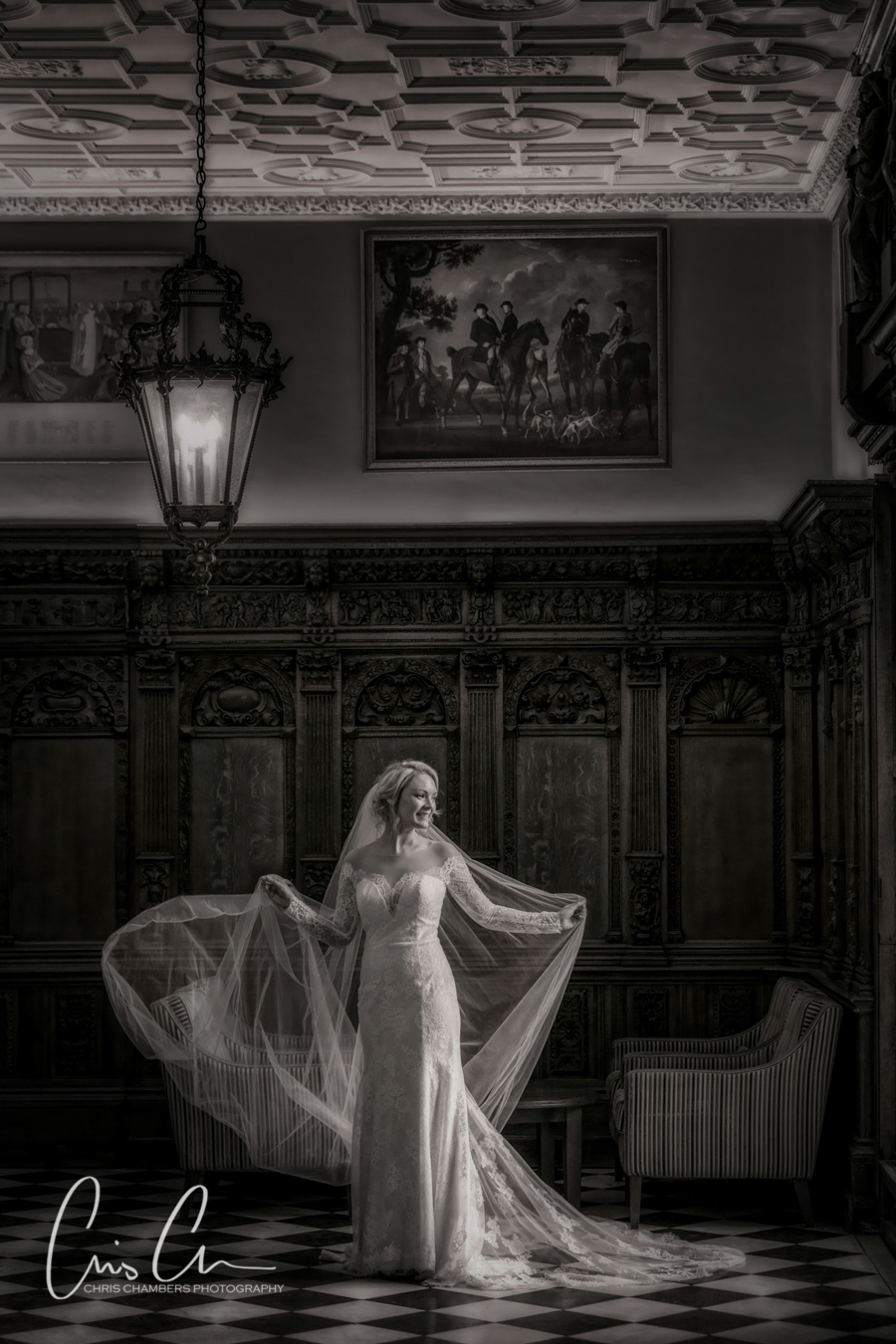 Hazlewood Castle wedding photograph, chris chambers wedding photographer. Bride in the flemish hall at hazlewood castle