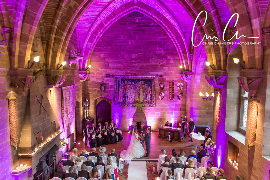 Wedding photographs at Peckforton Castle.