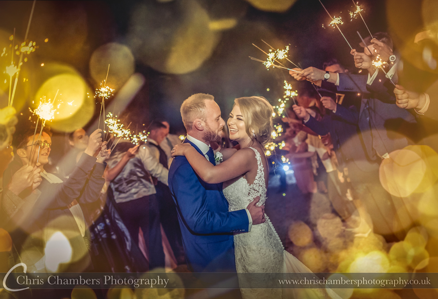 Sparkler wedding photography, Night time wedding photography of the bride and groom, Full day wedding coverage photography, Yorkshire photographer
