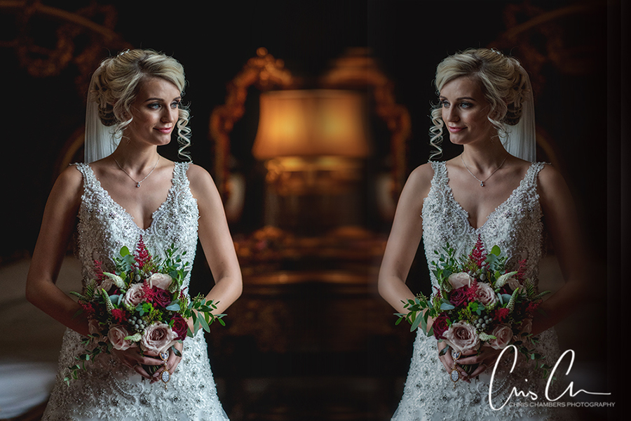 Bridal portrait wedding photograph. Yorkshire wedding photographer at Allerton Castle
