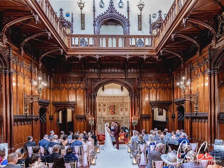 Wedding ceremony at Allerton Castle North Yorkshire. Chris Chambers Photography
