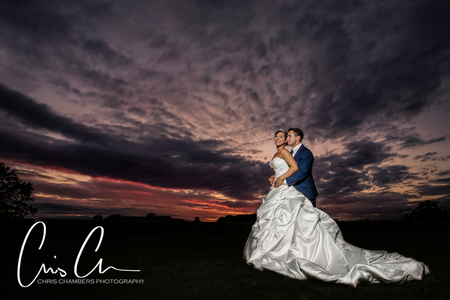 Sunset wedding photograph at Allerton Castle North Yorkshire.