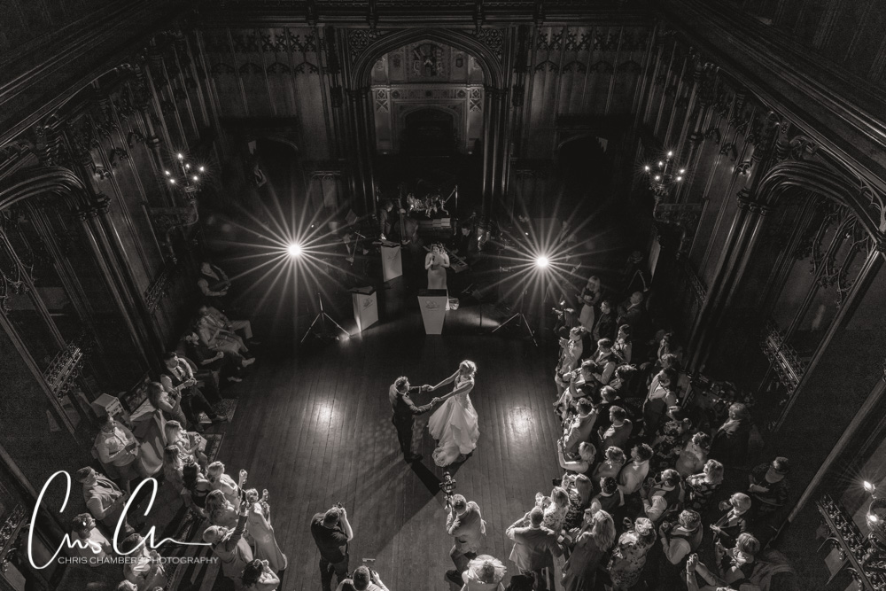 First dance in the Great Hall at Allerton castle. Amazing Yorkshire wedding venue.