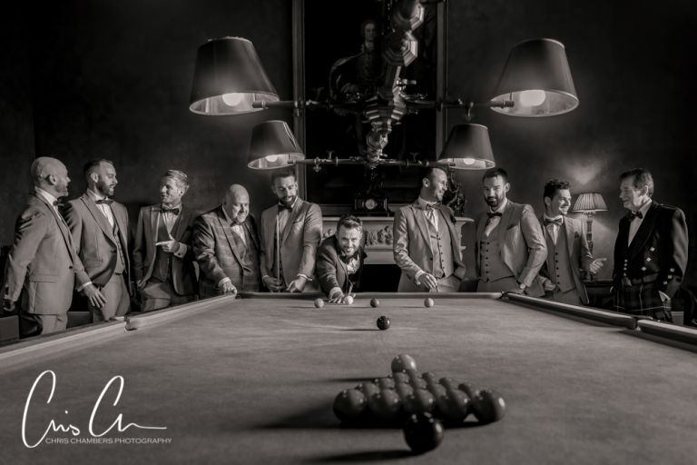Allerton Castle wedding photography showing the groom and groomsmen in the Billiard Room before the wedding ceremony.