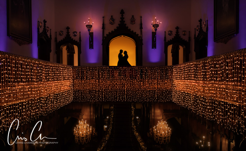 Bride and groom silhouette inside Allerton Castle North Yorkshire. Twilight wedding photography.