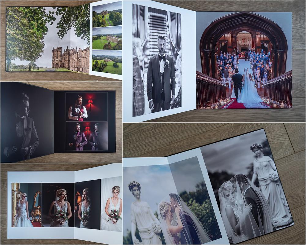 Allerton Castle wedding photographs. Graphistudio storybook wedding album from Italy.