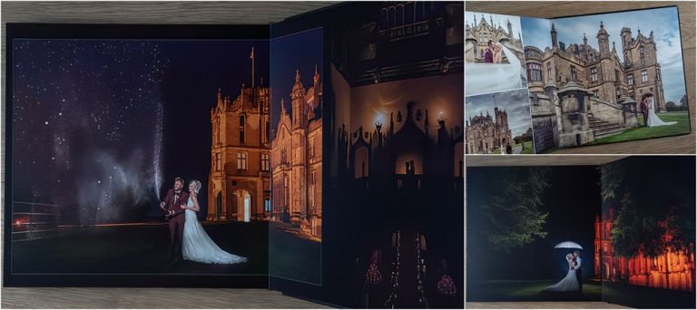 Allerton Castle wedding photographs. Graphistudio storybook wedding album from Italy.