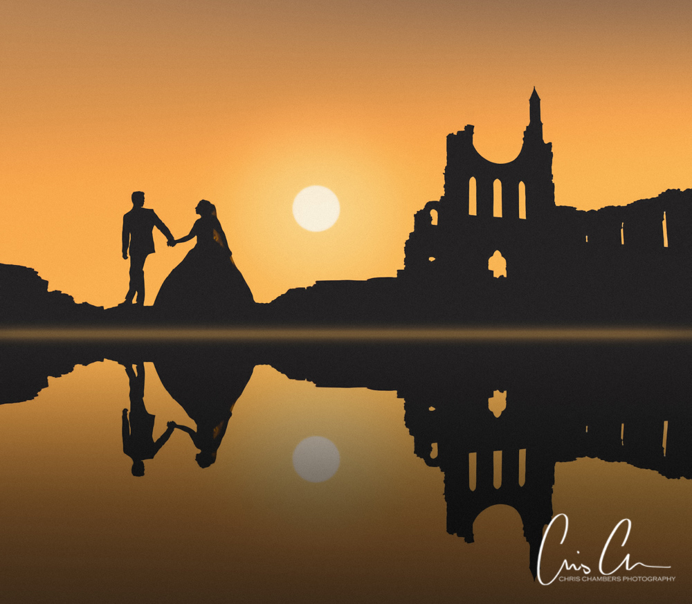 Wedding Photography Yorkshire. Sunset silhouette of bride and groom.