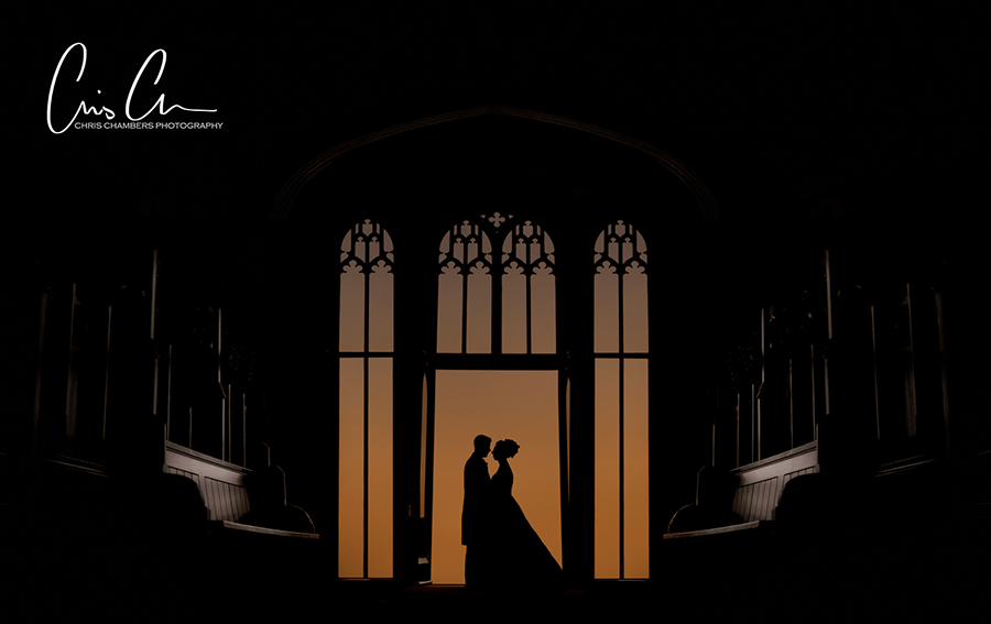 Bride and groom silhouettes at sunset inside Allerton Castle North Yorkshire