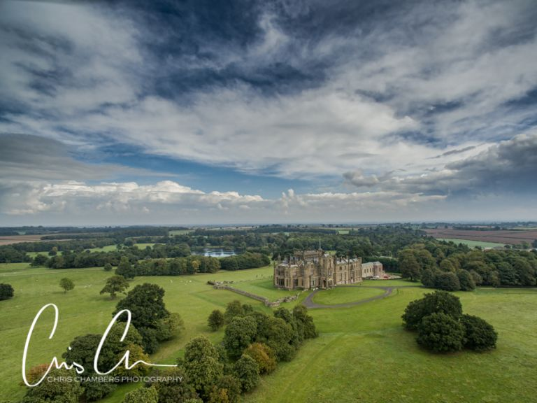 Allerton Castle Wedding venue in North Yorkshire close to Knaresborough , Harrogate and York the castle and amazing grounds can be seen clearly in this aerial photograph.