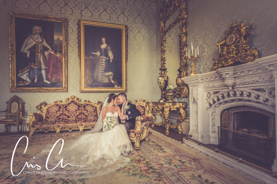 Bride and groom in the Drawing room at Allerton Castle during their wedding day. Allerton Castle wedding photography.