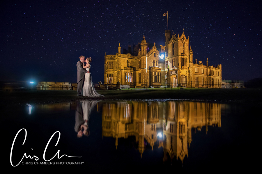 Reflections outside Allerton Castle at night. An amazing wedding venue and backdrop for photos.