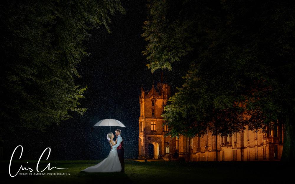Raining on your wedding day? Allerton Castle wedding after dark in the rain.