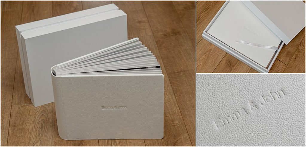 Graphistudio matted wedding photograph album featuring wedding photography of John and Emma's wedding day at Carlton Towers