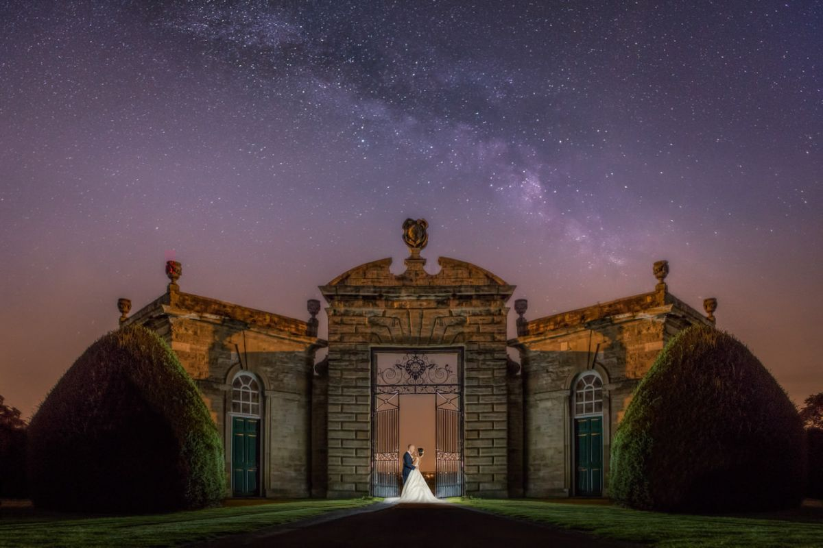 Bride and groom at night near leeds. Yorkshire wedding photographer