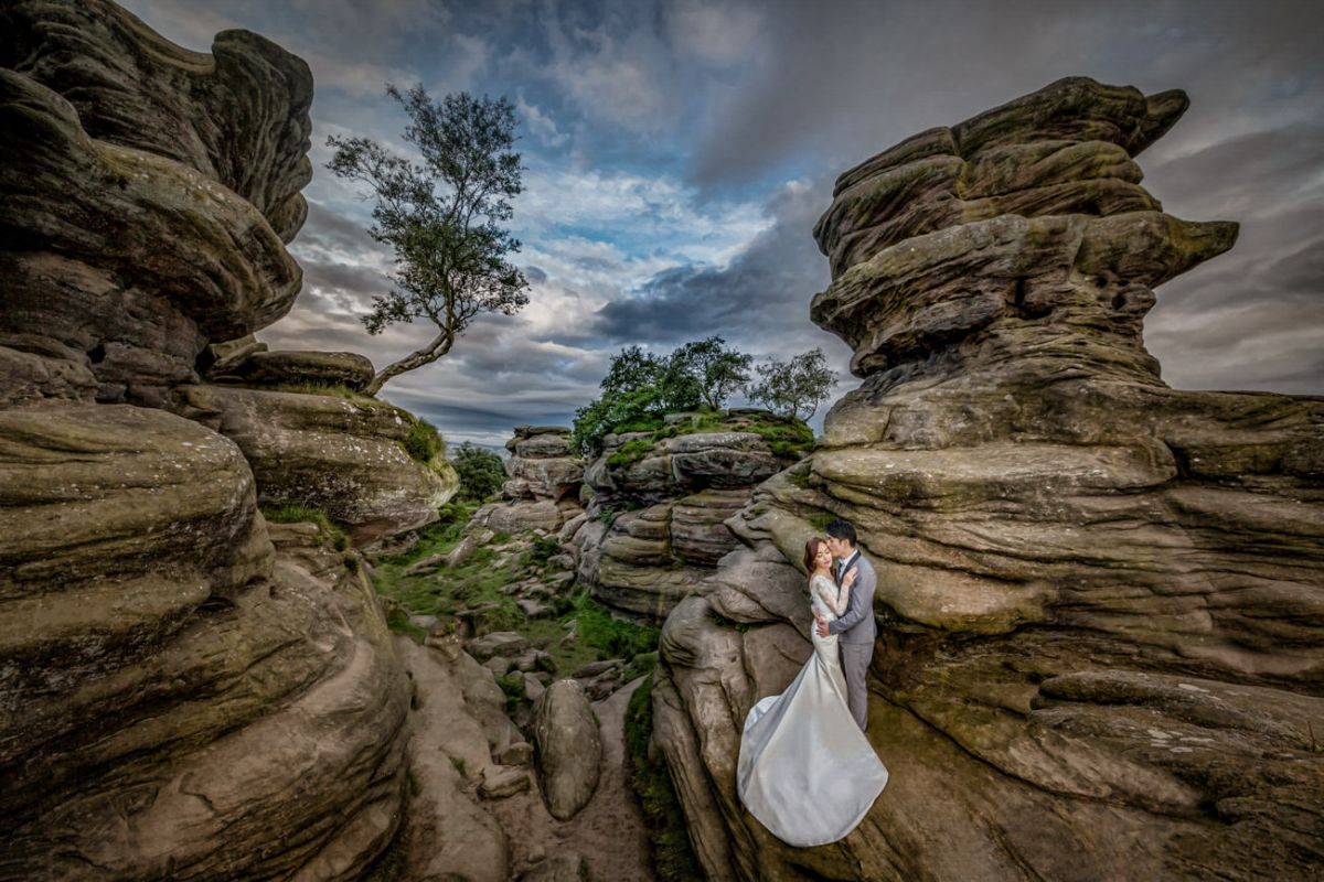 wedding photograph of a bride and groom in Yorkshire