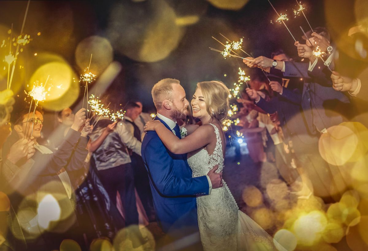 Sparkler wedding photo of a bride and groom at Woodlands Hotel, Leeds West Yorkshire