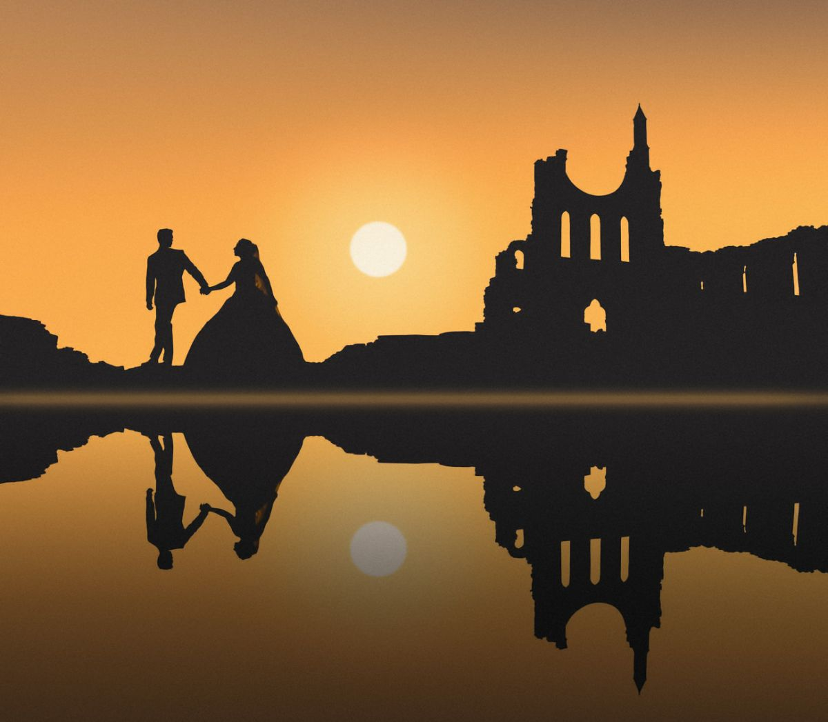 Yorkshire wedding photography.. Bride and groom reflections at sunset