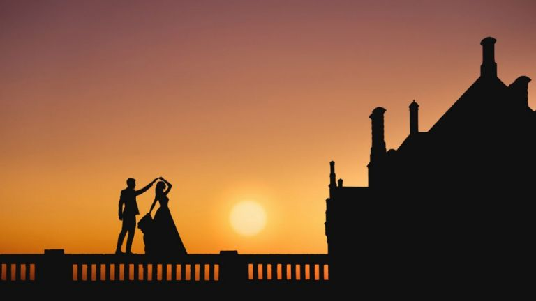 Wedding photograph at Sunset at Hodsock Priory