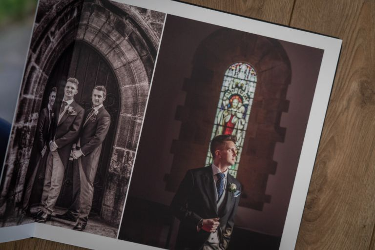 Exclusive Graphistudio Storybook Wedding album featuring Charlotte and Nick's wedding photographs at Rudding Park near Harrogate.