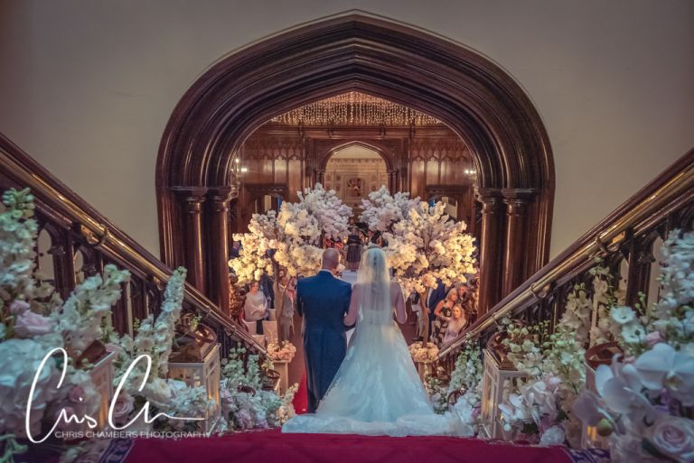 Bridal entrance at Allerton Castle. Beauty and the Beast themed wedding photography at Allerton castle North Yorkshire