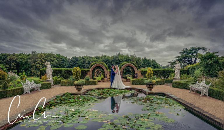 Allerton Castle wedding photography. Bride and groom in the memorial garden at Allerton Castle.