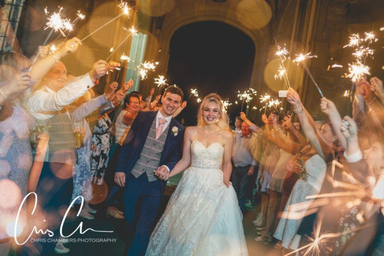 Sparkler Exit at Allerton Castle. Wedding Photography from chris Chambers. Award winning Allerton Castle wedding photography.