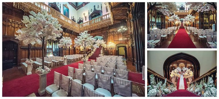 Allerton Castle Great Hall dressed for the wedding ceremony.