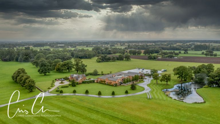 Merrydale Manor drone photograph of the wedding venue