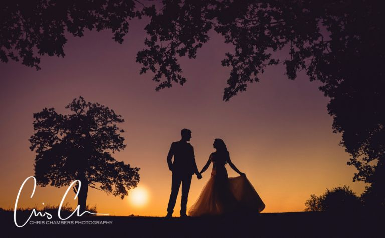 Merrydale Manor wedding photograph of a bride and groom at sunset