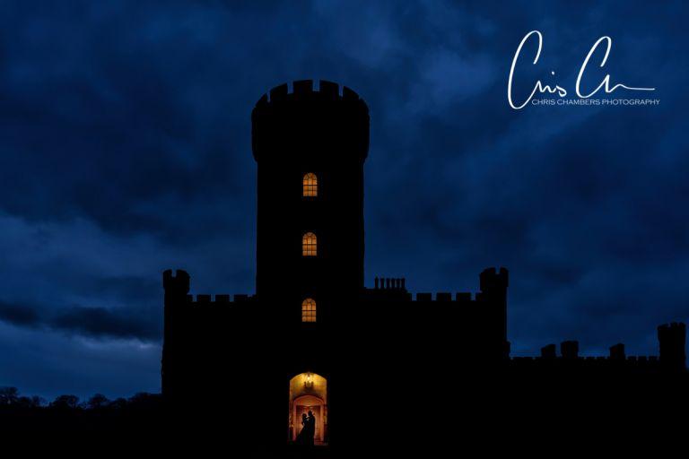 twilight wedding photography using flash. North Yorkshire. Swinton Park Wedding Photographer