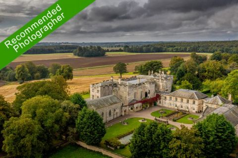 Hazlewood Castle from above. Drone photo looking at the courtyard