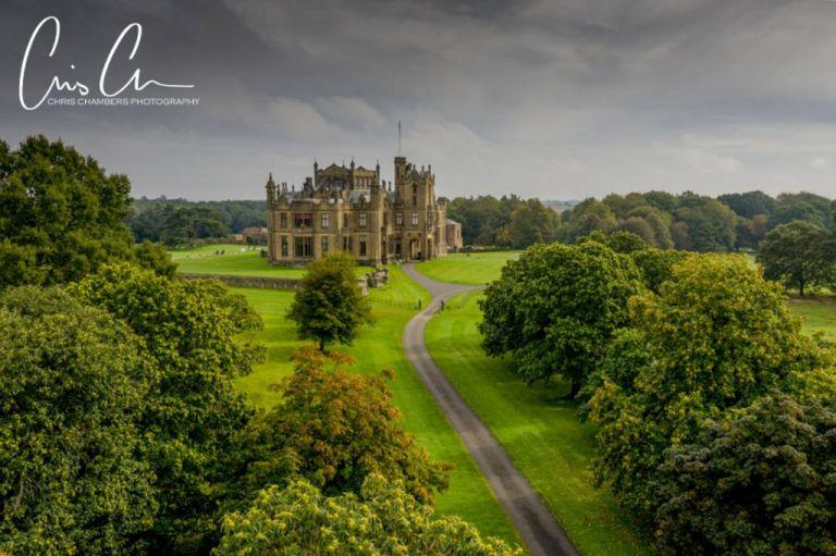 Allerton Castle, North Yorkshire Wedding venue, aerial photograph of Allerton Castle