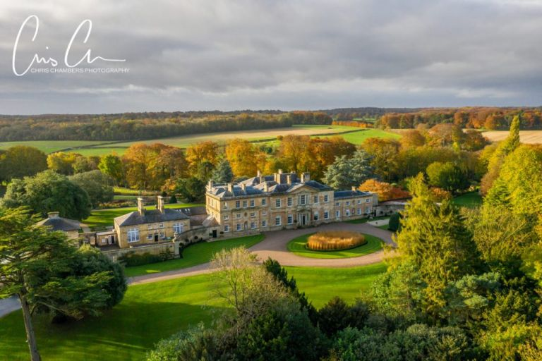 Bowcliffe Hall Aerial photograph West Yorkshire wedding venue - Chris Chambers Photography